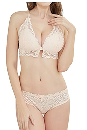 GAGA Womens Bra and Panty Set Sexy Front Buckle Lace Bra Lingerie Set at  Amazon Women s Clothing store  2943d3685