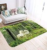 H40cm x W60cm 3D White Unicorn 51 Non Slip Rug Mat Room Mat Quality Elegant Photo Carpet