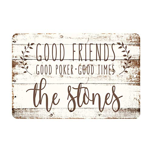 Personalized Wood Poker Sign - Anwei Signs Personalized Good Friends, Good Poker, Good Times Rustic Wood Look Metal Sign 12 X 16 Inch