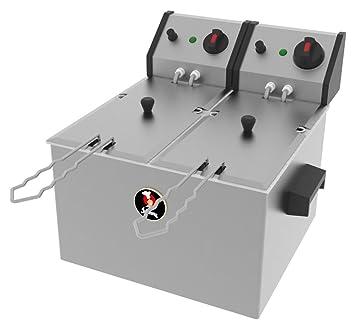 Jemi Freidora Doble Industrial Eléctria J-3/2 (2 x 4.5L, 2 x 2.200W, 230V, Termostato, Acero Inoxidable)