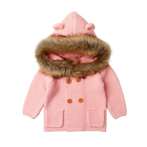 Newborn Baby Girls Sweater Cardigan Pink Long Sleeve Toddler Knitted Coat Clothes Autumn Kids Tops Winter Hooded Jacket(12-18M,Pink) ()