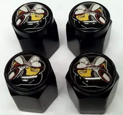 4 Dodge Hemi Scat Pack Valve Stem Caps (Black - Modern Black) Dodge Challenger Super Stock