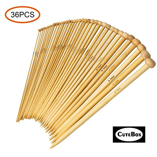 BetyBedy 36PCS Bamboo Knitting Needles Set, Single Pointed Carbonized Knitting Needles, 18 Sizes from 2.0mm-10.0mm, 9 Inches Length for Handmade Creative DIY