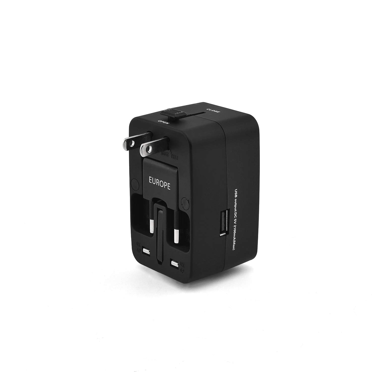 Travel Adapter, Worldwide All in One Universal Travel Adapter Wall AC Power Plug Adapter Wall Charger with USB Charging Ports for USA EU UK AUS Cell Phone Laptop