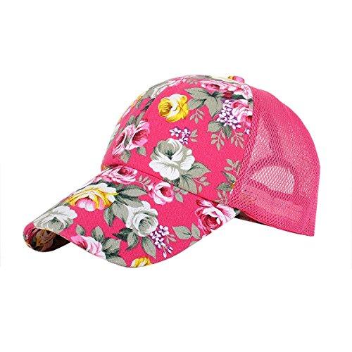 Newest trent Perforated Adjustable Sport Mesh Cap Sun Hat, Flower Floral Print Baseball Cap Golf Hats Tennis Hat for Women girls - Hot Pink