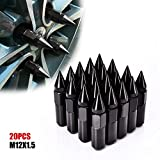 Catinbow 60mm M12X1.5 Wheel Lug Nuts Extended Spike Aluminum Mounted Nut Refit Lug Nuts Set of 20 - Black