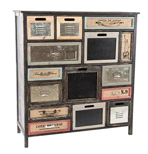 TXT Kommode aus Holz und Metall mit 14Schubladen Asymmetrische und bunte 105, X 54,5x 114,5cm