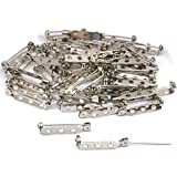 Leegoal Silver Tone Double Lock Brooch Pin Back Coat Crafts (Silver,50pcs)