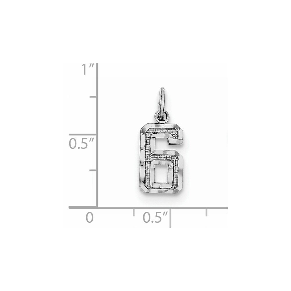 Pendants Initial and Number Charms .925 Sterling Silver Small Diamond-Cut #6 Charm Pendant