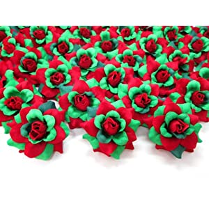 "(100) Silk Christmas Roses Red Green Flower Heads - 1.75"" - Artificial Flowers Heads Fabric Floral Supplies Wholesale Lot for Wedding Flowers Accessories Make Bridal Hair Clips Headbands Dress 1"