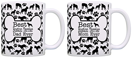 Ceramic Terrier Boston - Best Boston Terrier Mom Dad Ever Bundle Paws Dogs 2 Pack Gift Coffee Mugs Tea Cups Bone Pattern