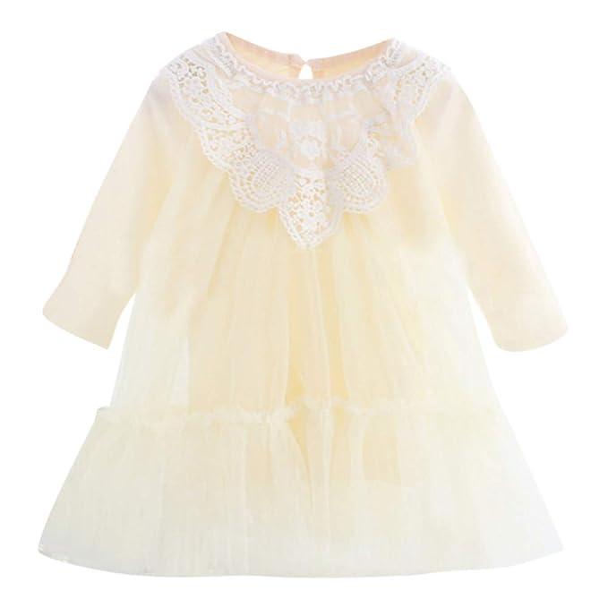 ASHOP Vestido de Princesa Falda Flamenca Party Dresses (Beige,0-0.5años)
