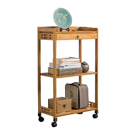 Amazon.com: LIULIFE - Carrito organizador de bambú de 3 ...