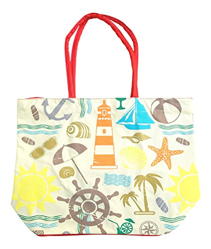 Large Beach Tote with Zipper for Women, Red - Sunglasses Lighthouse