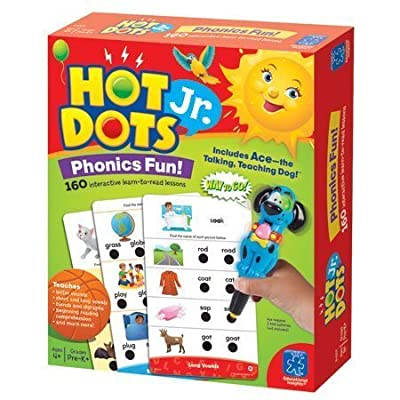 Educational Insights Hot Dots Jr. Phonics Fun! Set with Ace Pen, Ages 4 and Up, (160 Lessons): Toys & Games