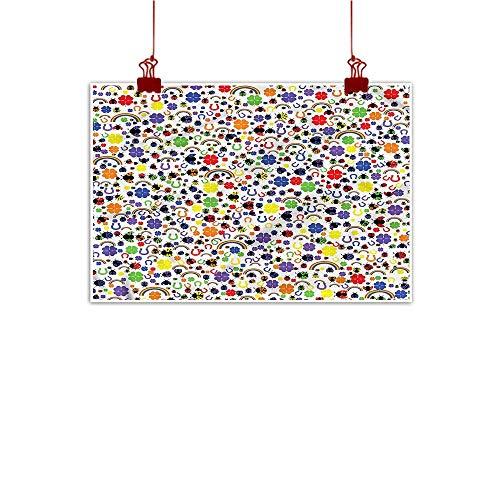 - Mangooly Wall Art Painting Print Horseshoe,Lucky Charms Ladybird 24
