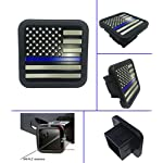 US USA flag Trailer Hitch Cover tube Plug Insert (Fits 2″ Receivers, Black & gray flag with Thin blue line)