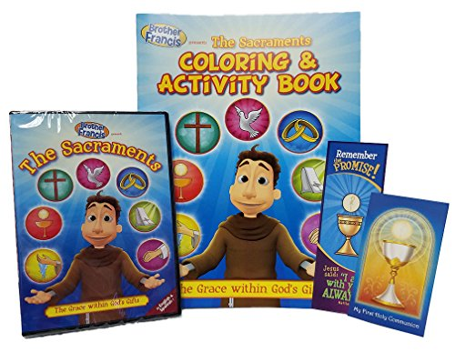Brother Francis The Sacraments DVD, Coloring and Activity Book Free First Holy Communion prayer Card Free Always with You Bookmark, Catholic Answers, ... Rated G Format: DVD, Soft Cover Color Book