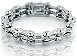 Men's Sterling Silver .925 Unique Original Designed Bicycle Link Bracelet with 112 Elegant Round shaped Cubic Zirconia (CZ) Stones, Box Lock, Original Design, Platinum Plated. Sizes available 8''9''