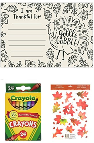 Season Placemat (Thanksgiving Kids Color-in Placemats set of 10, with Crayons and Fall Leaves Window Clings Bundle)