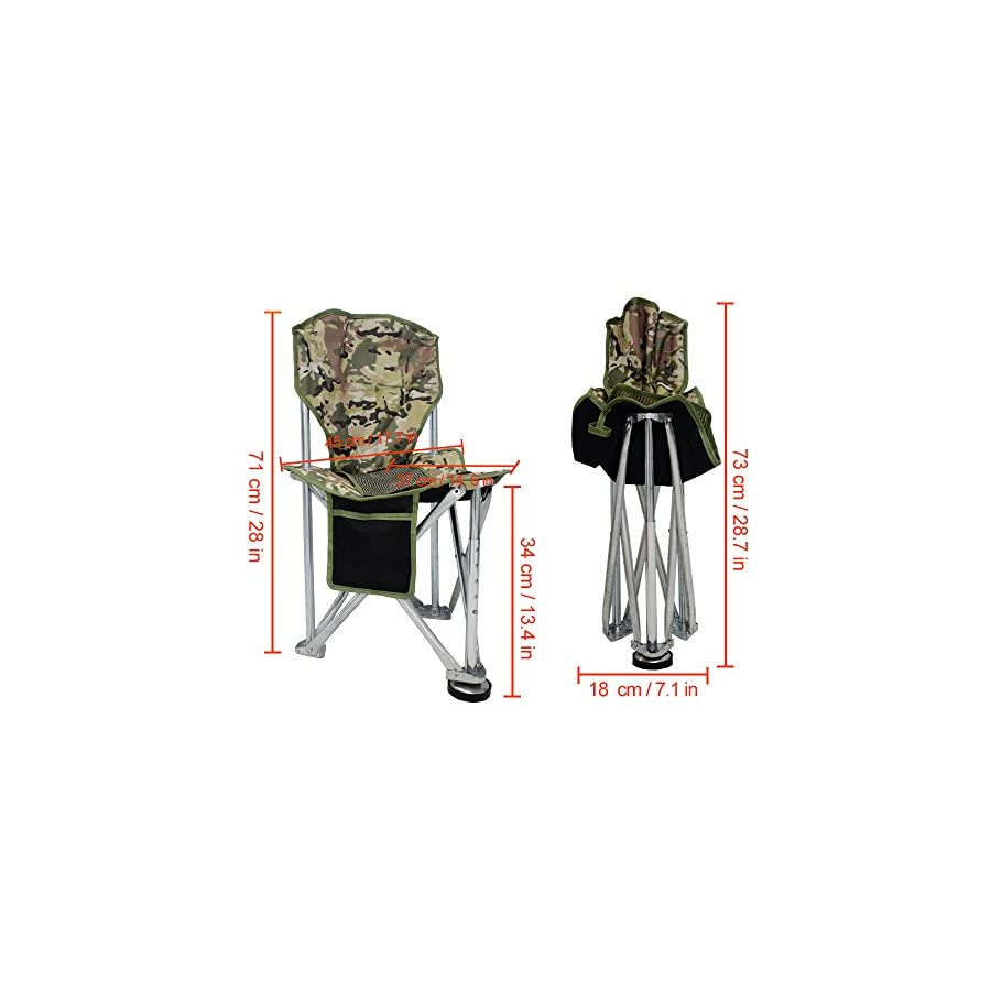 Geertop Folding Tripod Camping Chair Stool with Back Rest Mesh Pocket Heavy Duty Steel for Backpacking Hunting Fishing or Boat Cabin