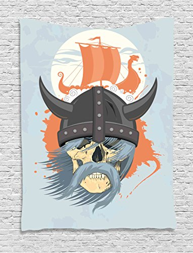 Viking Wall Hanging Tapestry by Ambesonne, Cartoon Ghost Skull Nordic War Combat Norse Medieval Helmet with Horns Dragon Head Ship, Bedroom Living Room Dorm Decor, 60 W x 80 L Inches, Orange Grey Ghost Tapestry