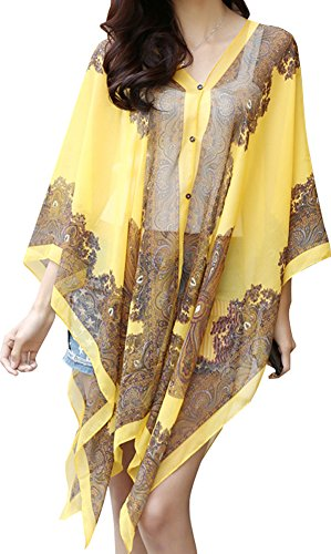 - Women's Paisley Print Chiffon Sheer Poncho Bikini Cover Up Top, Yellow