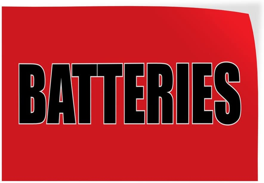 Decal Sticker Multiple Sizes Batteries #2 Style A Automotive car Outdoor Store Sign Red 14inx10in Set of 10