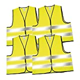 4 Pack Safety Vests High Visibility Vest Neon Yellow Vests XXL Conforms to DIN EN ISO 20471:2013
