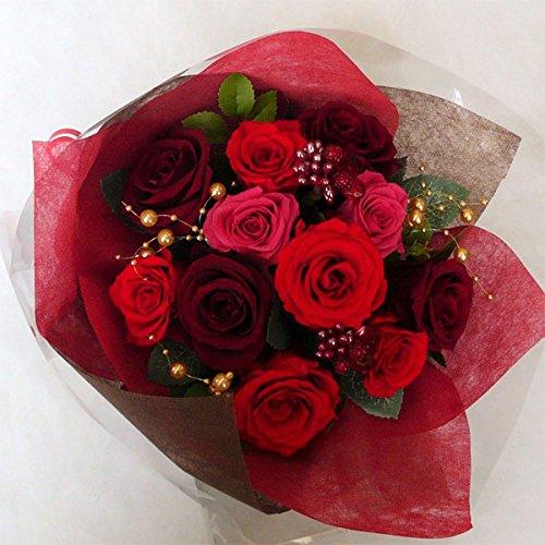 枯れない花 プリザーブドフラワー 花束(誕生日記念日お祝いプロポーズ等に最適) (ワイン) B0197UWROK ワイン ワイン