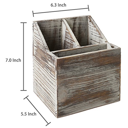 Rustic Torched Wood Tabletop Flatware, Utensil Caddy, Cutlery Organizer and Napkin Holder, 3 Compartment by MyGift (Image #5)