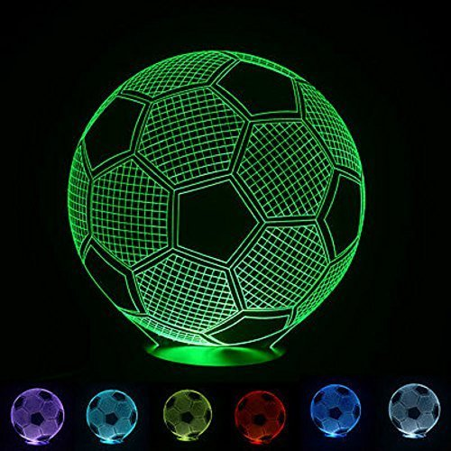 NIUDB Optical Illusion 3D Lighting Nightlight Glow for Kids Laser Cut Precision LED Lights Multicolored USB Powered Light Desk Lamps Yoga, Office, Spa, Bedroom,Baby Room (soccer) -