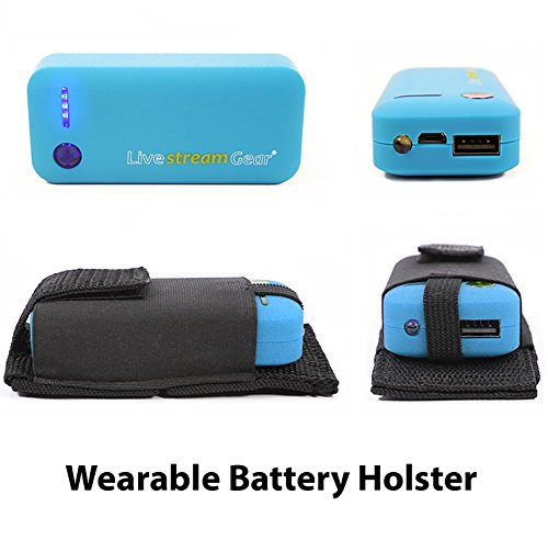 Livestream Gear Wearable Battery Charger   5200mAh External Power Pack with Holster. Perfect for Sport Camera or Phone Charging. Most Affordable Wearable Battery Solution. (Blue)