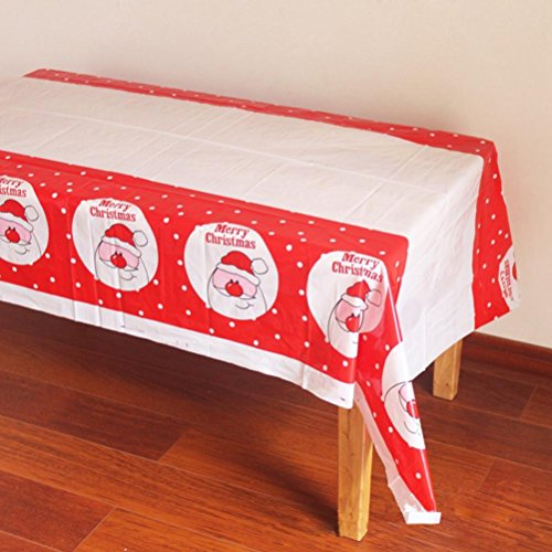 Gotd One Time Tablecloth Disposable Merry Christmas Printed PVC Cartoon Tablewaer Fancy (Multicolor D)