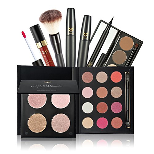 Frcolor Makeup Set - Eyeshadow, Mascara, Eyeliner, Eyebrow Powder, Blush Brush, Lip Gloss, 4 color Powder