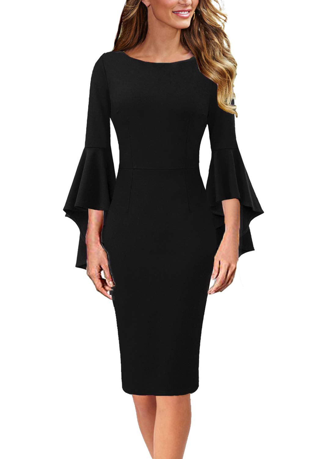 VFSHOW Womens Ruffle Bell Sleeves Business Cocktail Party Bodycon Sheath Dress