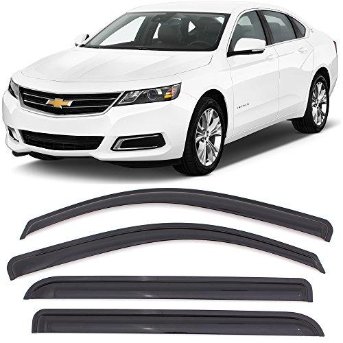Window Visors Fits 2014-2018 Chevy Impala | Dark Smoke Acrylic Window Visors Wind Sun Rain Vent Guards 4PC By IKON MOTORSPORTS | 2015 2016 2017