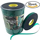 Ugold Stretch Tie Tape Plant Ribbon Garden Green Vinyl Stake - 0.48'' x 150 Ft x 12 Pc