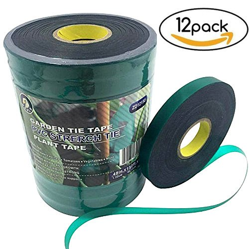 Ugold Stretch Tie Tape Plant Ribbon Garden Green Vinyl Stake - 0.48'' x 150 Ft x 12 Pc by Ugold