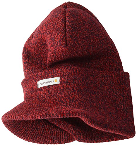 Embroidered Visor Carhartt - Carhartt Men's Knit Hat with Visor, red/Navy, OFA
