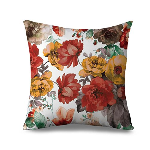 Popeven Blooming Flower Decor Pillow Cover Vintage Red Floral Pillow Case 18x18 Canvas Throw Cushion Cover for Bed Zippered Pillowcase Standard Retro Pillow Case for Women