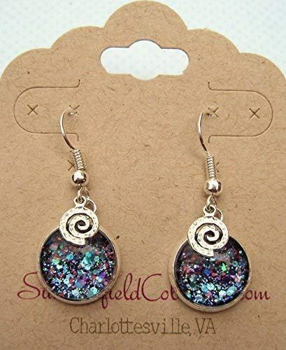 Silver-tone Blue Purple Pink Glitter Glass Swirl Charm Dangle Earrings