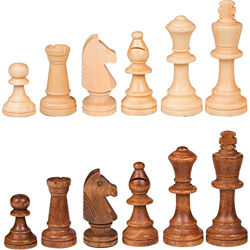 Wood Chess Pieces - Best Chess Set Gugertree Wood Weighted Chess Pieces – Pieces Only – No Board - 3.5 Inch King