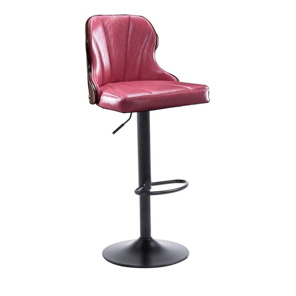 NSHUN Bar Stools Set with Backrest   Leatherette Exterior   Height Adjustable and Adjustable Swivel Gas Lift   Footrest Black Steel Footrest & Base (Color : Pink)