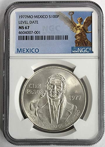 (1977 MX Mexico Silver-Level Date 100 Pesos MS67 NGC)