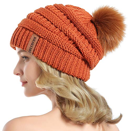 QUEENFUR Women Knit Slouchy Beanie Chunky Baggy Hat with Faux Fur Pompom Winter Soft Warm Ski Cap (Orange)