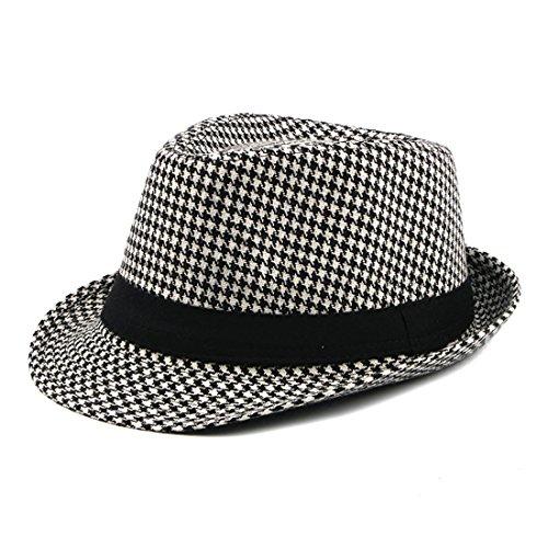 - Houndstooth Hat Jazz Hat Gentleman Cap All-Match Hat