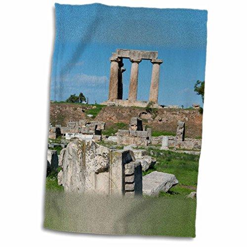 Doric Bath (3dRose Danita Delimont - Ruins - Greece, Corinth, Ancient Corinth. Carved stone, Doric Temple of Apollo - 12x18 Towel)