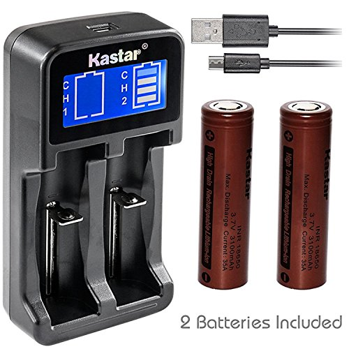 Kastar Intelligent LCD USB Charger & INR18650 Battery (2 Pack), Rechargeable 3100mAh (High Drain 35A) Flat Top for Electric Tools, Toys, LED Flashlights and Torch ect.