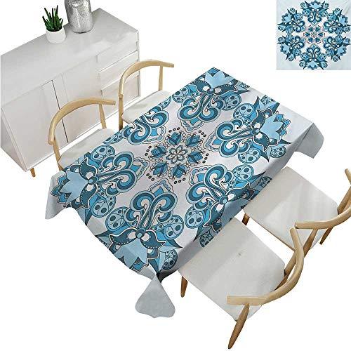 familytaste Mandala,Rectangle tablecloths,Ethnic Universe Figure Icon Floral Oriental Cultural Folk Art Pattern Print,Spillproof Fabric Tablecloth 70